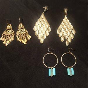 Francesca's Earrings / Set of 3 Gold Earrings.